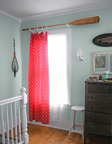 oar curtain rod via country living From Trash to Treasure