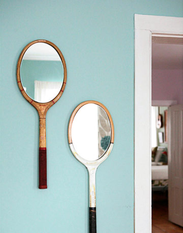 tennis racket mirrors via country living From Trash to Treasure