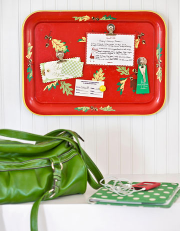 tole tray message board via country living From Trash to Treasure