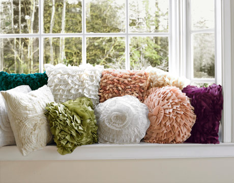 ruffled pillows from pier one and etsy via countryliving Ruffles