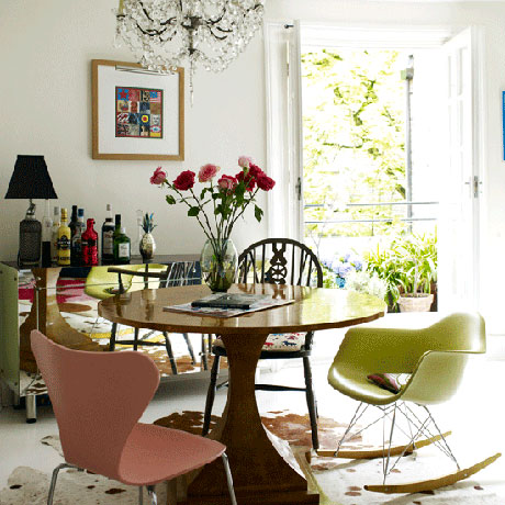 mismatched kitchen chairs via kitchenisms Mismatched Dining Chairs
