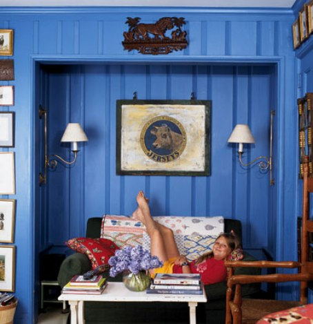blue paneling room via myhomeideas Why Men Fear Painting Wood