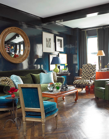 laquered blue living room via hb by miles redd House Beautiful Living Rooms