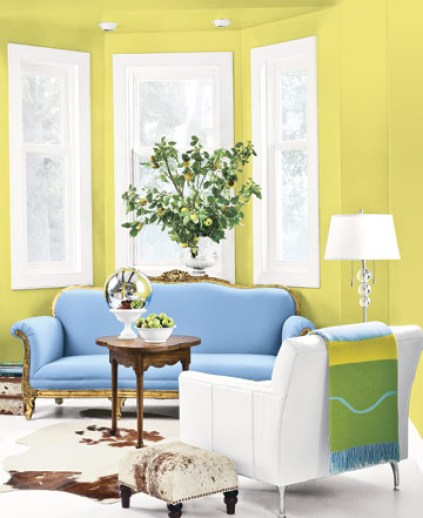 yellow and blue living room via countryliving A Fresh Take on Yellow and Blue Decorating