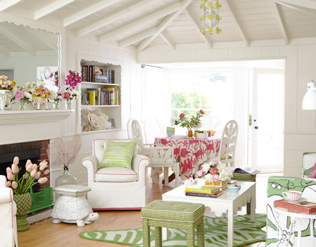 beach living room via hb Colorful Beach House
