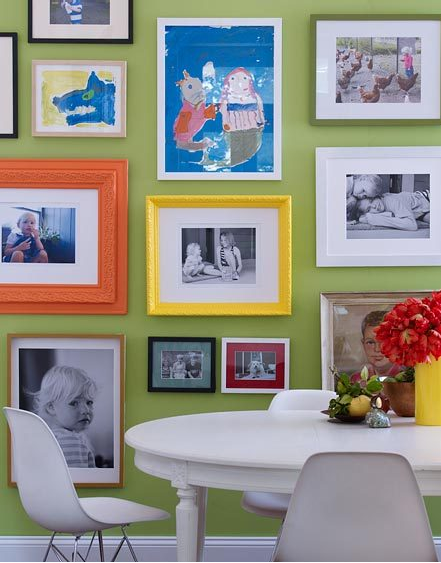 children photos and art via apartmenttherapy Ideas for Displaying Photos