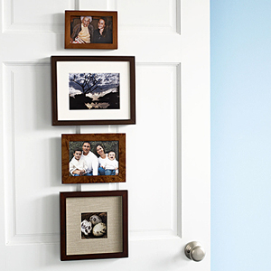 photos hung on door via familycircle Ideas for Displaying Photos