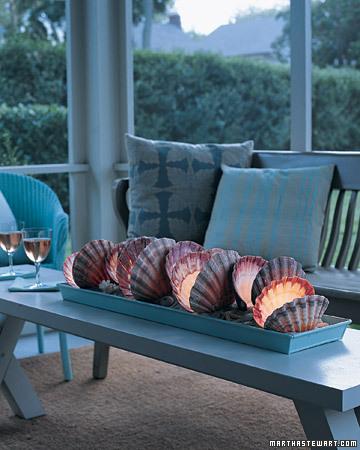 seashell lights via martha Decorative Ideas for Seashells