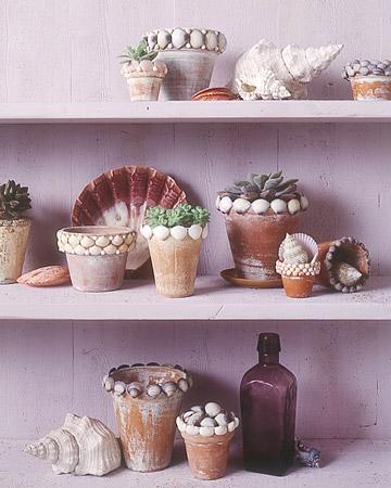 shell flowerpot via martha Decorative Ideas for Seashells