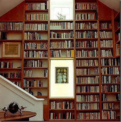 art on bookcase via eileenevans blogspot Ever Thought of Hanging Art Here?