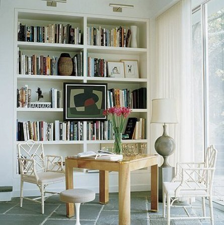 bookcase art via ellle decor Ever Thought of Hanging Art Here?