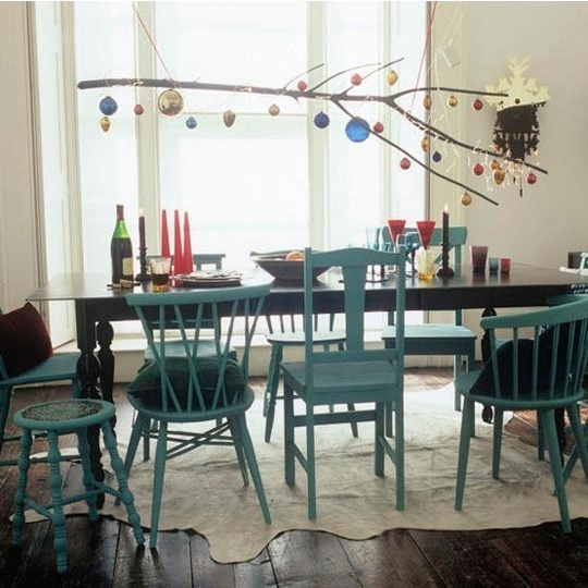 blue mismatched dining chairs via ohdeedoh Christmas Decor Branches Out