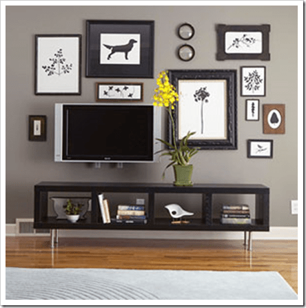 flat screen solution via colour me happy Decorating Around the Television