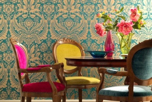 turquoise figural motifs wallpaper decor via picsdecor Pink + Turquoise = Its a Festivus Miracle!