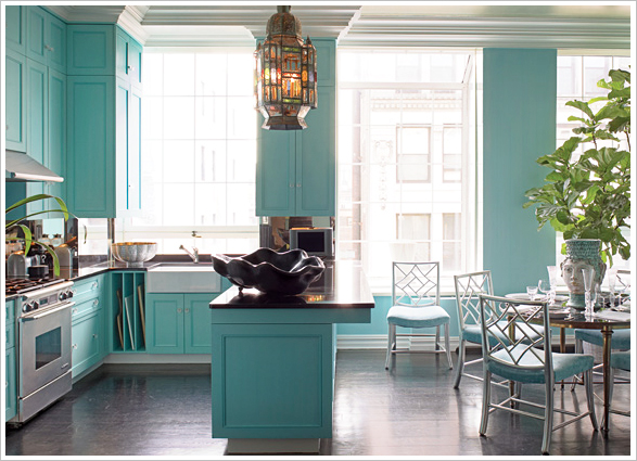 turquoise teal aqua kitchen design via sugarluxeblog Pink + Turquoise = Its a Festivus Miracle!