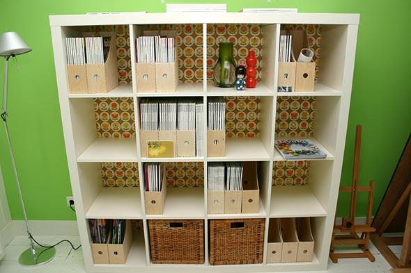 expedit ikea bookcase with back vai shelterpop IKEA Bookcases   So Many Ways to Use Them!