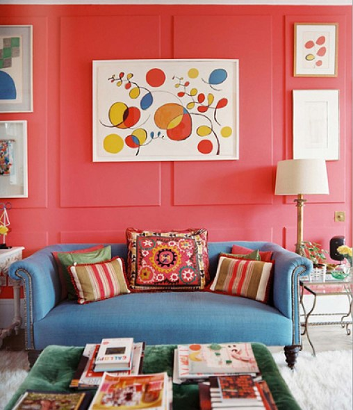 pink lonny living room blue sofa via chinashepherdess How NOT to be a Slave to Decor Trends
