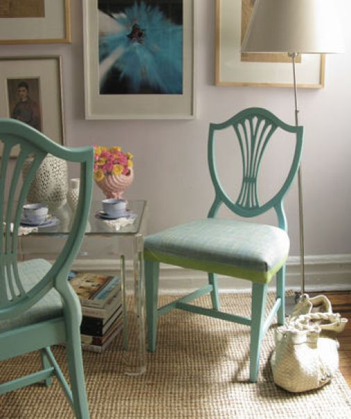white walls green chairs via xjavierx photostream How to Create a Color Palette for your Home