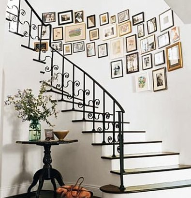 stairwell art via blog highfashionhome Walking Up Your Stairs Should Be a Happy Experience
