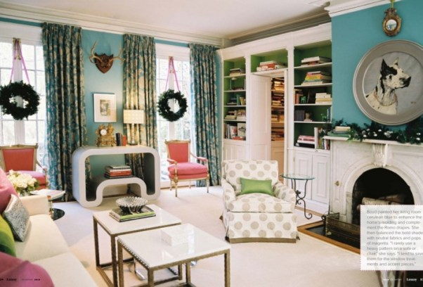 blue living room with green and pink accents via lonny 1024x662 Obsessed with Blue & Green
