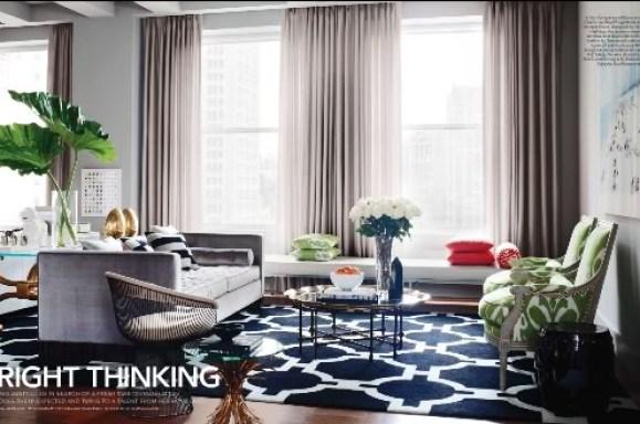 blue rug living room via elledecor So, Will You Do Inky Blue?