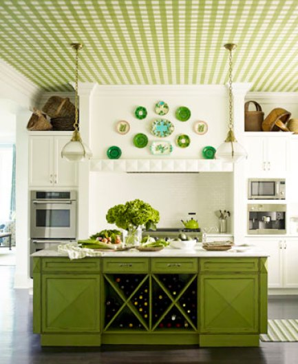 designer Mendelson pea green kitchen plaid via hb Waiting for a Winner in the Green Room