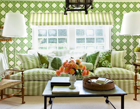 green garden room wallpaper via hb Waiting for a Winner in the Green Room