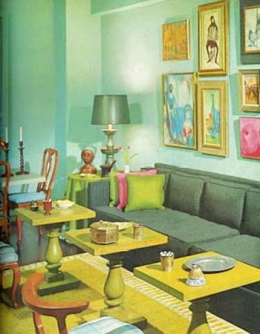 mccalls decorating 1964 green and blue living room via funisinstyle Obsessed with Blue & Green