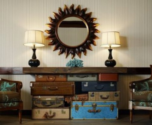 suitcase luggage table via designfixation blogspot Clever Uses for Vintage Luggage