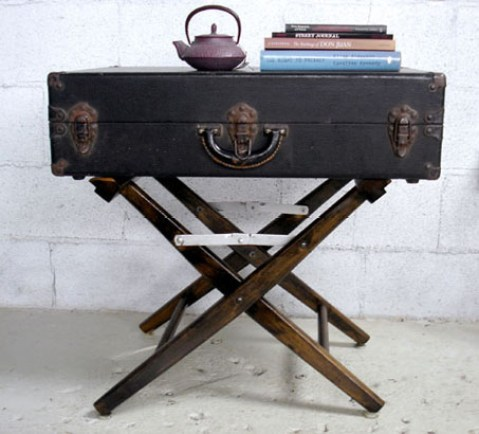 vintage luggage table via re nest Clever Uses for Vintage Luggage