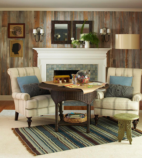 paneled walls via bhg The Truth About Men & Decorating