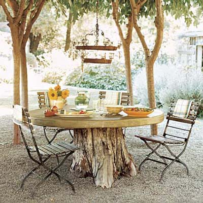 stump table this old house via lostandfoundsf blogspot How to Add Enchantment to Your Home