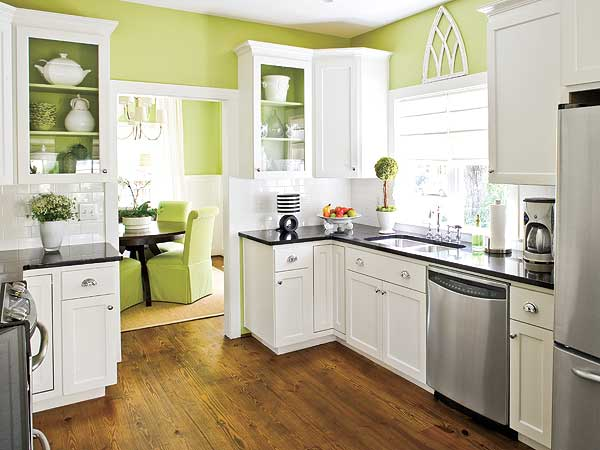 Green Kitchen Design with White Kitchen Furniture via besthomedesigns org Why White Kitchen Cabinets are The Right Choice