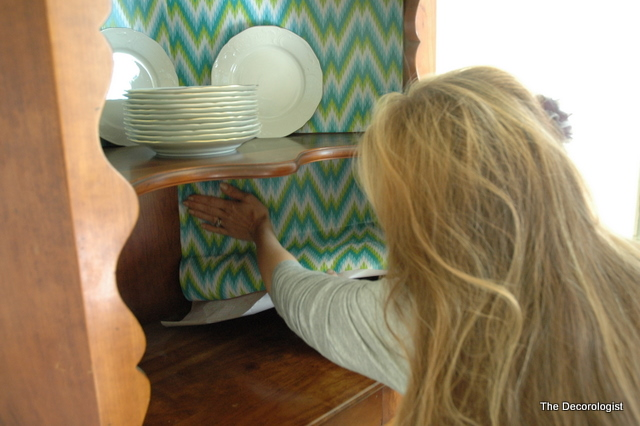 DSC 3803 How to Spruce Up a Hutch with Shelf Liner