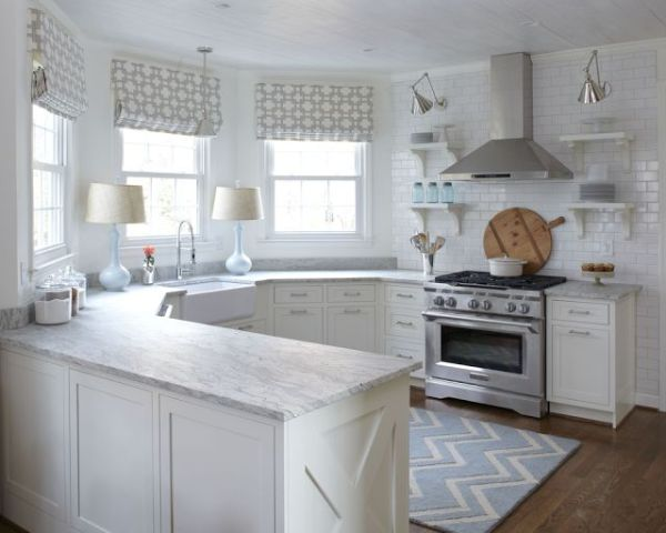 white kitchen with lamps 600x480 Creating Ambiance in the Kitchen