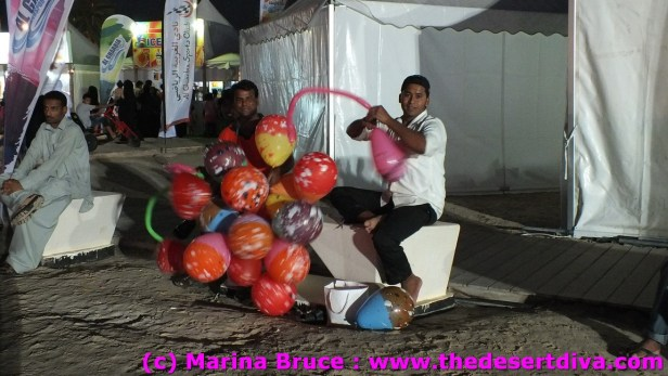 balloon sellers adding to the party atmosphere