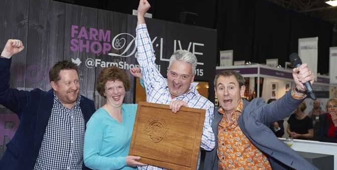 from left to right - Presenter Simon Hurley, managing director Olives et Al; Sue and Anthony Johns of Johns of Instow & Appledore Farm Shop & Deli Awards 2015's 'Retailer of the Year'; and chairman of the judges, Nigel Barden.