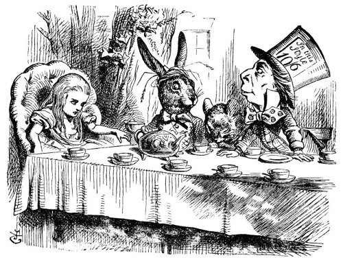 Alice, March Hare, Mad Hatter and Dormouse have a cup of tea
