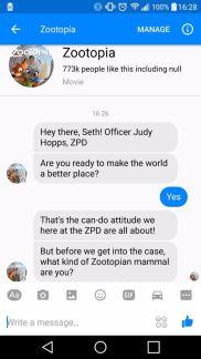 judy hopps takes over facebook messenger ZOOTOPIA