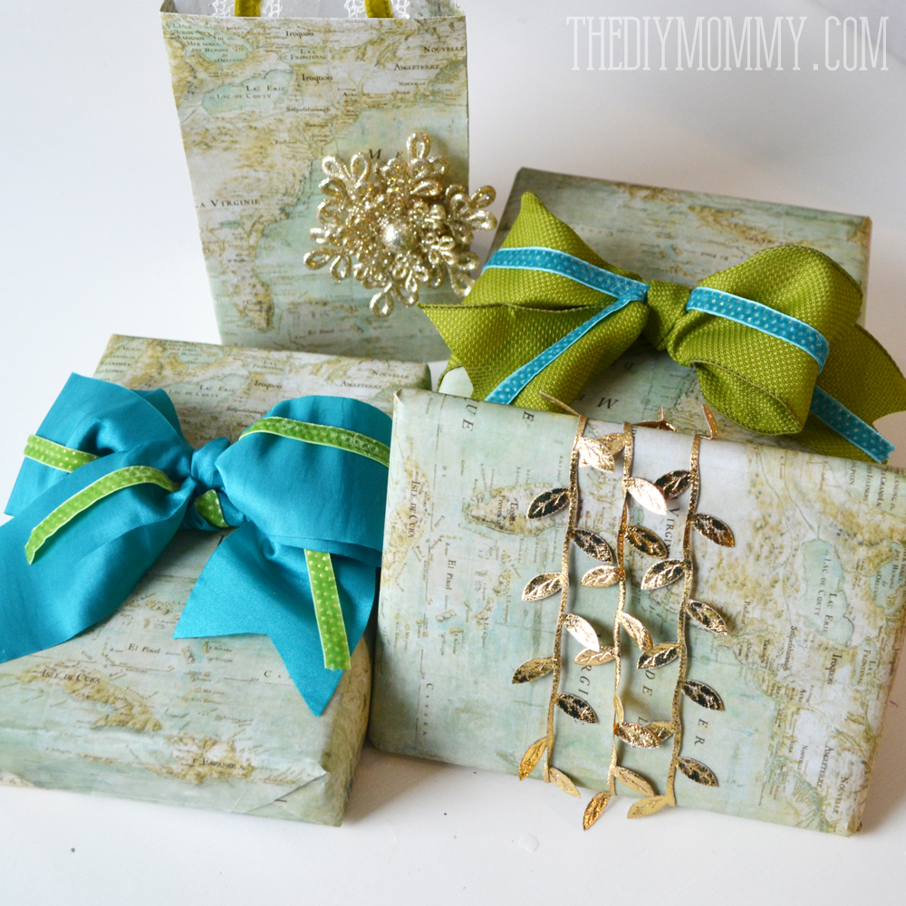 DIY Vintage Map Christmas Gift Wrap and Gift Bags   The DIY Mommy Wrap Christmas presents in vintage maps that you find or print  and accent  them with