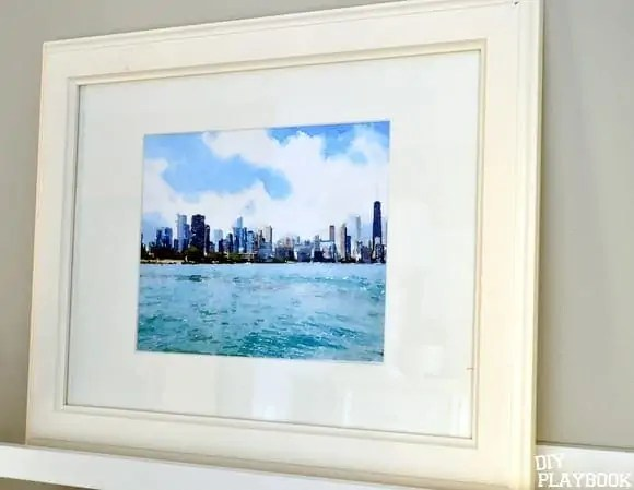 Chicago watercolor in frame