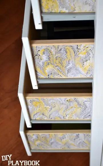 Pattern on side of dresser drawers
