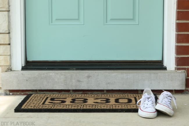 door mat after and blue door
