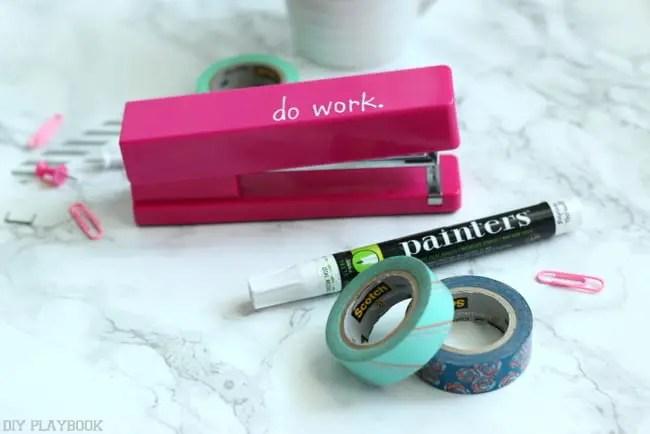 stapler washi tape paint pen