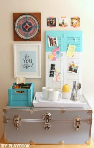 gray trunk bulletin board dorm