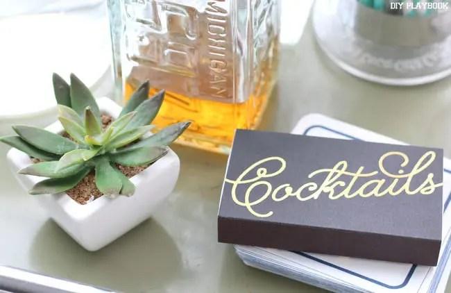2-faux-plant-succulent-bar-cart-cocktail-matches