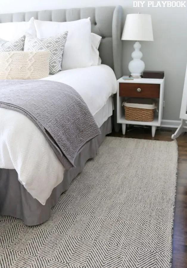 Master Bedroom Rug Pattern Nightstand