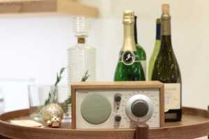 Room and board radio on bar cart