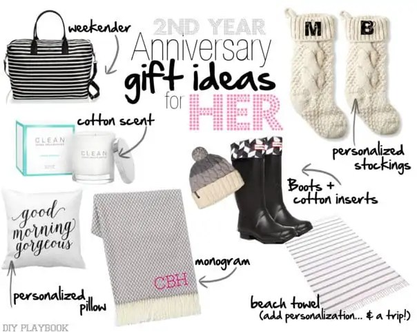 2nd Wedding Anniversary Gifts Cotton For Her : 2nd Year Wedding Anniversary Gift IdeasDIY Playbook