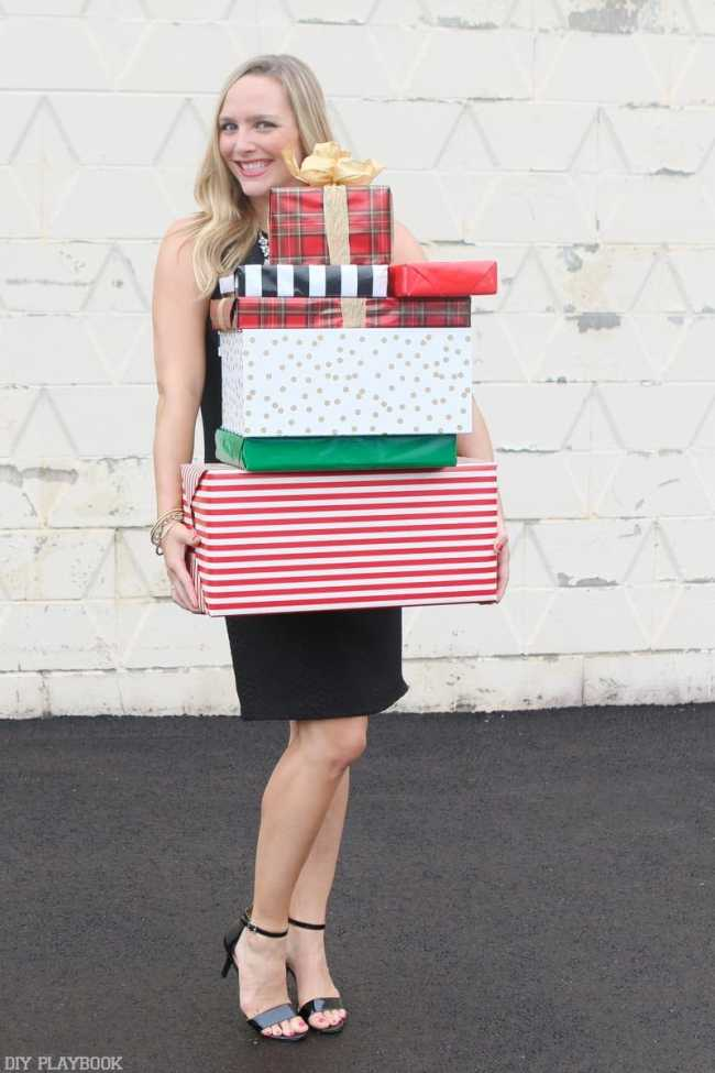 2016-DIY-Playbook-Christmas-Card-wrapped-gifts-Casey-dress